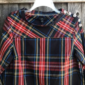 J. CREW Shirt Blouse Tartan Plaid Jeweled Buttons